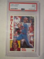 1984 PETE ROSE #300 TOPPS BASEBALL CARD - PSA GRADED 9 MINT - TUB BBA-8