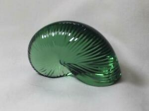 Baccarat Nautilus Shell Seashell Crystal Coquillage Green Emerald Paperweight