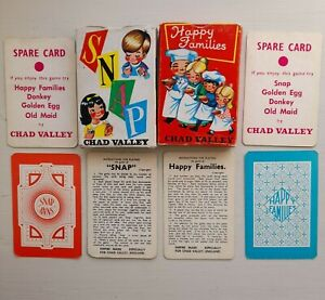 2 Vintage Chad Valley Card Games Snap And Happy Families Boxed With Instructions