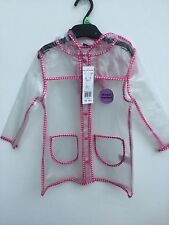 GORGEOUS GIRLS CLEAR PVC RAIN COAT WITH PINK BUTTERFLY TRIM AGE 1-7