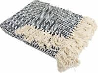 "Blanket Striped Woven Blanket Chevron Decorative Navy Throw Tassels 50"" x 60"""