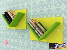 Set 2Pz Libreria modulare Mensole Design cameretta GIALLO VERDE made in Italy