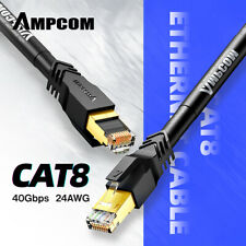 AMPCOM S/FTP CAT8 Ethernet Cable (24AWG, 8.0mm) 40Gbps High Speed ​​Patch Cable