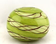 """New 8"""" Hand Blown Glass Art Vase Bowl Candle Holder Green Decorative"""