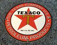 TEXACO GASOLINE PORCELAIN METAL VINTAGE STYLE SERVICE STATION PUMP PLATE AD SIGN