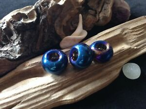 Blue Rainbow Dreadlock Beads 3x Iridescent Titanium Coated Glass 5mm Hole UK