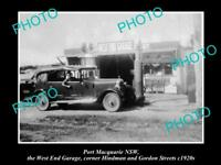 OLD LARGE HISTORIC PHOTO OF THE PORT MACQUARIE NSW, THE WEST END GARAGE c1920s