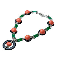 Kenneth Jay Lane Rhodium/crystal jade bar black/coral button deco necklace