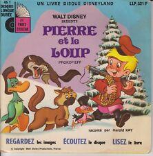 """WALT DISNEY PIERRE ET LE LOUP PROKOFIEFF H. KAY LIVRE DISQUE 7""""PORT PRIX COUTANT"""