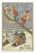 New Year Postcard showing 3 different Elves