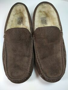 UGG Ascot Brown Suede Slippers Men's Slip On Shoes Size 12 Driving Loafers