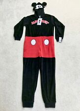 Disney Womens Sz XS Mickey Mouse Costume Union Suit 1 Pc Pajama Plush Hooded New