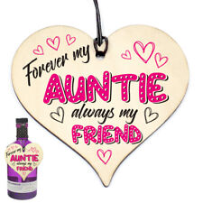 #907 Funny BIRTHDAY / CHRISTMAS For AUNTIE Wood Heart Keepsake Forever Gift