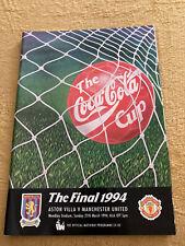 More details for 1994 manchester man united utd v aston villa league cup final programme vgc