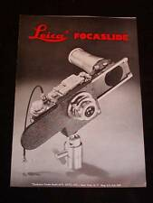 Vintage Leica Camera Advertising Pamphlet for Leica Focaslide Attachment c1949