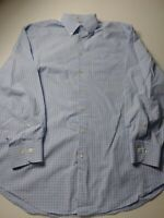 Peter Millar Mens Shirt Size L Blue Check Long Sleeve Button Front Cotton