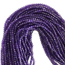 2x4mm Natural Faceted Purple Amethyst Round Gemstones Loose Beads 15'' Strand