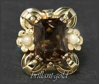 Vintage Rauchquarz & Perlen Cocktail Ring aus 585 Gold, Goldschmied Handarbeit