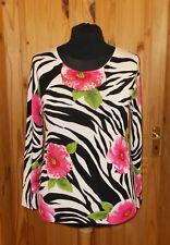 Roman Ivoire Off-Blanc Noir Rose Vert Zebra Floral Jumper Sweater Top M-L 14-16