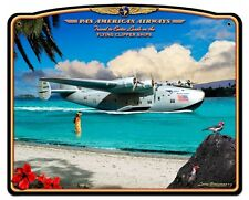 "Pan American Airways Flying Clipper Ships Metal Sign Lg701 16"" X 13""  Pan Am"