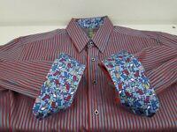 Robert Graham Dress Shirt L Blue Red Stripe Button Up Long Sleeve Flip Cuff