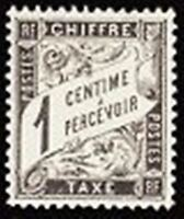 """FRANCE STAMP TIMBRE TAXE N° 10 """" TYPE DUVAL 1c NOIR """" NEUF x TB"""