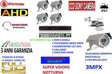 KIT VIDEOSORVEGLIANZA IP CLOUD DVR 4 CH 4 TELECAMERE AHD 3MP 48LED +HD500GB SONY