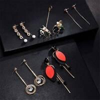 Elegant Women 925 Silver Tassel Crystal Stud Drop Dangle Chain Earrings Jewelry