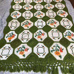 "Vintage Granny Handmade Crochet Afghan Blanket Throw Cross Stitch Green 62""x44"""