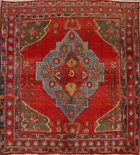 Vintage Geometric 5' Square Heriz Serapi Vegetable Dye Area Rug Hand-made Tribal