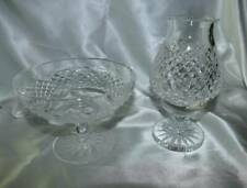 Waterford Crystal Alana Compote + Hurricane Votive Lamp EXCELLENT!