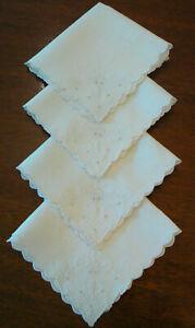 "Embroidered Linen Tea Luncheon White Napkins Set Of 4 Scalloped edges Vtg  10.5"""
