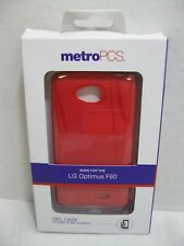 Metro PCS LG Optimus F60 Gel Cell Phone Cases Red with Screen Protector