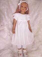 Outfit - Weißes Kleid für Himstedt u.a. Künstler Puppen der Gr. 82-92 cm