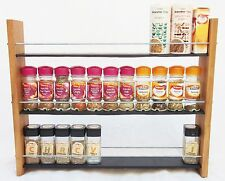 Oak Slate Design Spice / Herb Rack 3 Tier, 33 Jar - Modern Contemporary Style