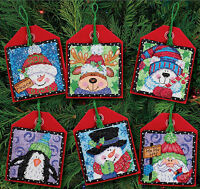 Cross Stitch Kit ~ Dimensions Set of 6 Cute Christmas Pals Ornaments #70-08842