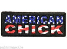 "LADIES ""AMERICAN CHICK"" PATRIOTIC BIKER PATCH NEW NICE"