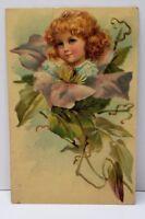 Little Girl in a flower 1908 Germany Postcard B22
