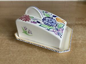 Poole Handpainted BN Pattern Butter / Cheese Dish