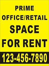 Custom Printed PRIME OFFICE/RETAIL SPACE FOR RENT with Contact number 3'x2' Feet