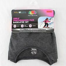 Fruit of the Loom Girls Performance Base Layer Set Gray Top Bottoms Pants