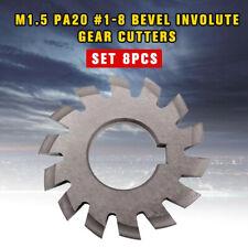 8pcsset M15 Pa20 1 8 Bevel Involute Gear Cutters Hss Module 15 Gear Cutter