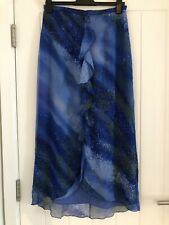 A Beautiful 100% Pure Silk Blue Patterned Ladies Long Skirt XL/UK14/16 Brand New