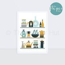 Kitchen | Art Print Mustard Grey Turquoise A3 | Scandinavian Retro Contemporary