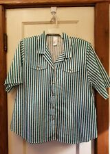 Unbranded Teal Green White Striped Short Sleeved Blouse Size XL