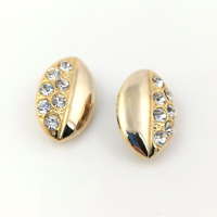 Chunky Gold Tone Clip On Earrings Vintage Rhinestone Statement Jewellery