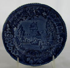 Old Wood&Sons Historical Staffordshire Dark Blue Plate Vue De La Port Romaine