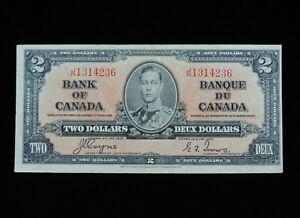 1937 $2 Dollar Bank of Canada Banknote J/R 1314236 Coyne Towers EF Gr George VI