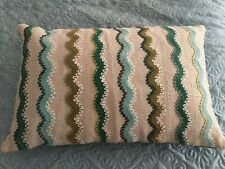 "Crate And Barrel 12"" x 18"" Embroidered Decorative Pillow Down Filled"