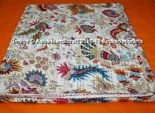Indian Handmade Floral Kantha Quilt Throw Reversible Bedspread White Vintage Art